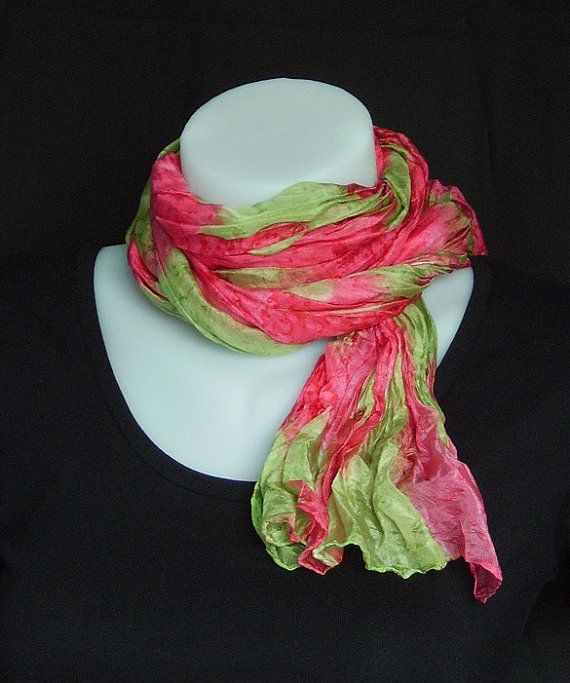 Hand painted long crinkle silk scarf  rose pink and by LushSilk, £30.00