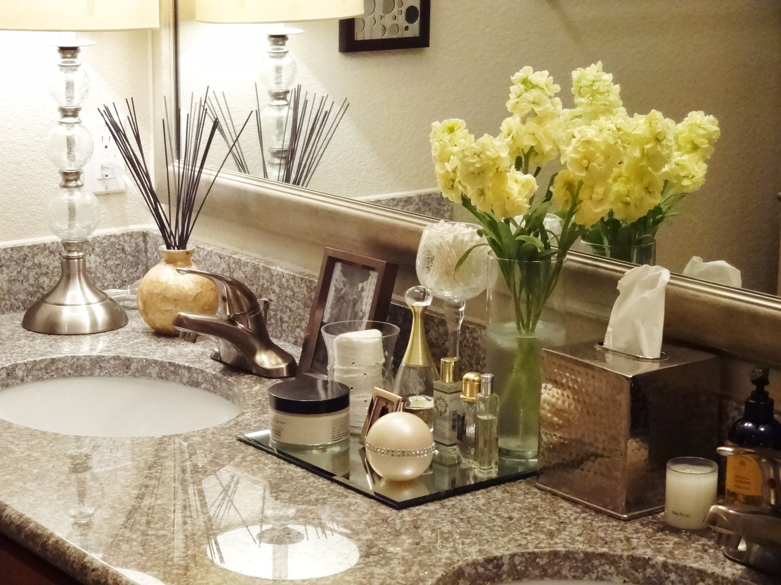Charming Girlie Bathroom Counter Decor