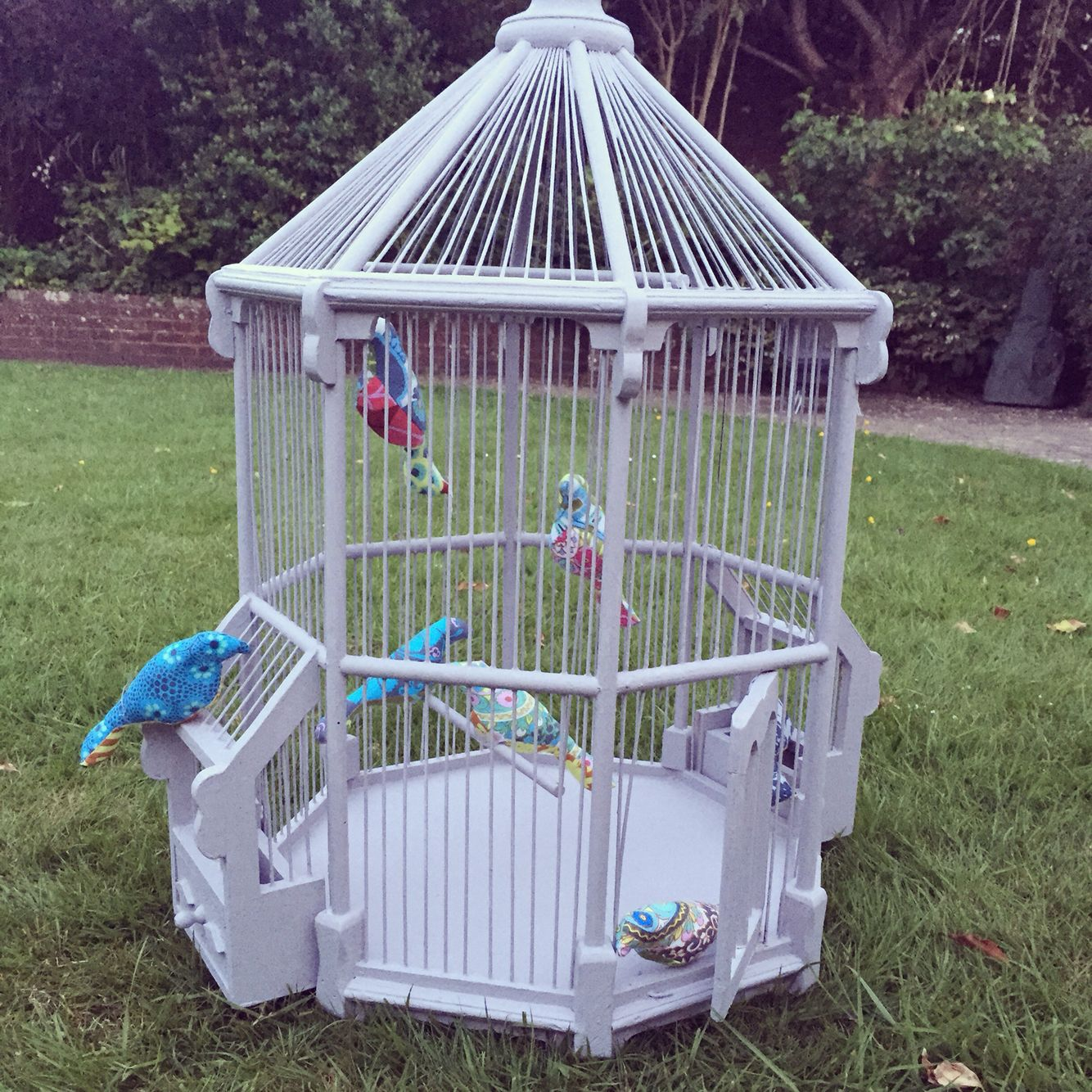 Painted bird cage with hand made fabric birds (spool pattern)