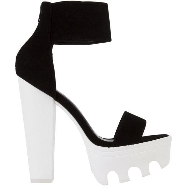 04eb1b11a046 Lug Sole Platform Black Nubuck White Heeled Sandals ❤ liked on Polyvore  (see more white sandals)