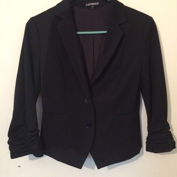 Host Pick 6/13/16 Express Pure Black Blazer Pure black Express Jacket worn once to interview (yes I got the job) bracelet sleeves , 3/4 length, midway small panel with tucking in back, 2 button front closure , very becoming this is a statement jacket the cut fit & design, Chosen as Host Pick 6/13/16 Office Style Party Express Jackets & Coats Blazers