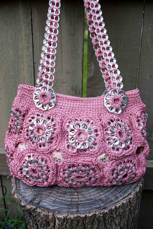 Soda pop tabs crafts - Upcycled Rose Crochet Pop Tab Purse