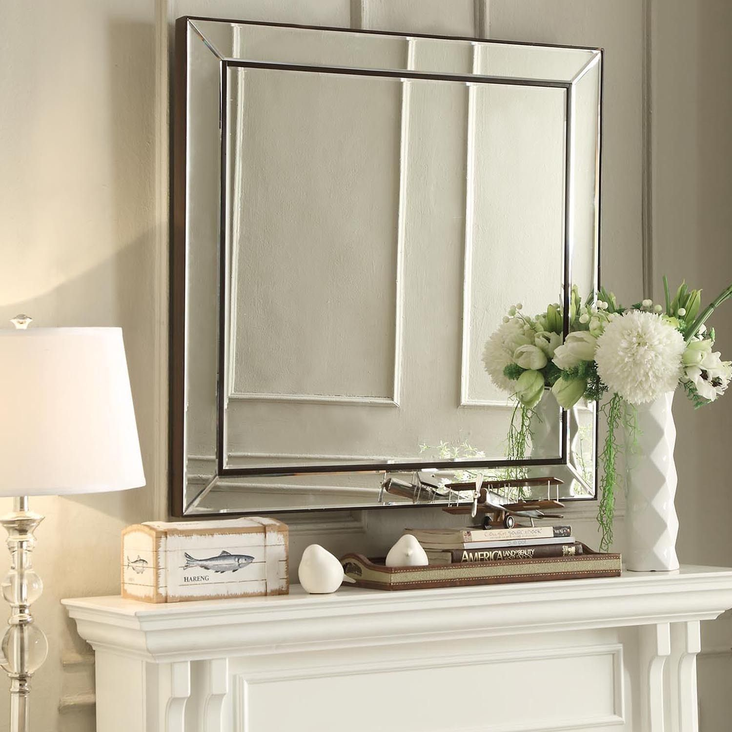 Brinkley Dark Brown Trim Mirrored Frame Square Accent Wall Mirror by  iNSPIRE Q Bold by iNSPIRE Q