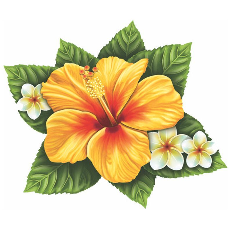 Single Hibiscus Flower Yellow Pool Mosaic Flower Drawing