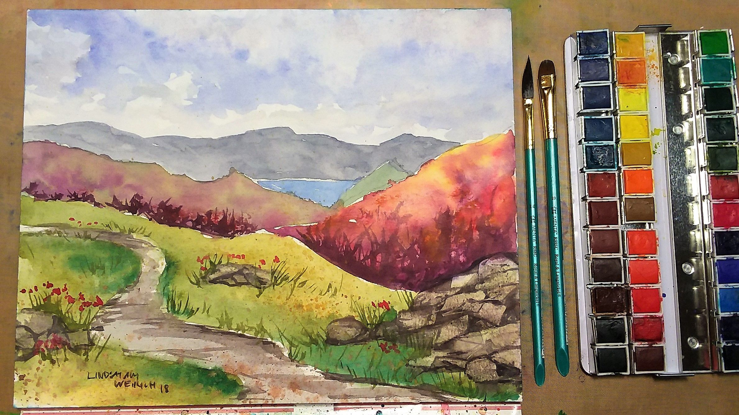 Colorful Mountain Landscape Beginner Watercolor Tutorial