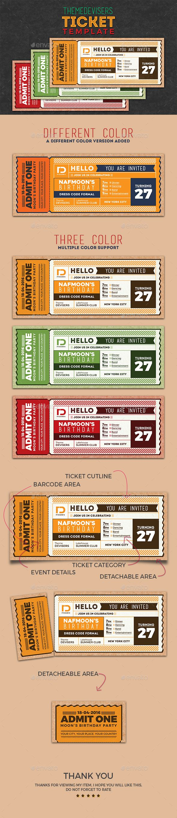 Invitation Ticket Template PSD Download here httpgraphicrivernet