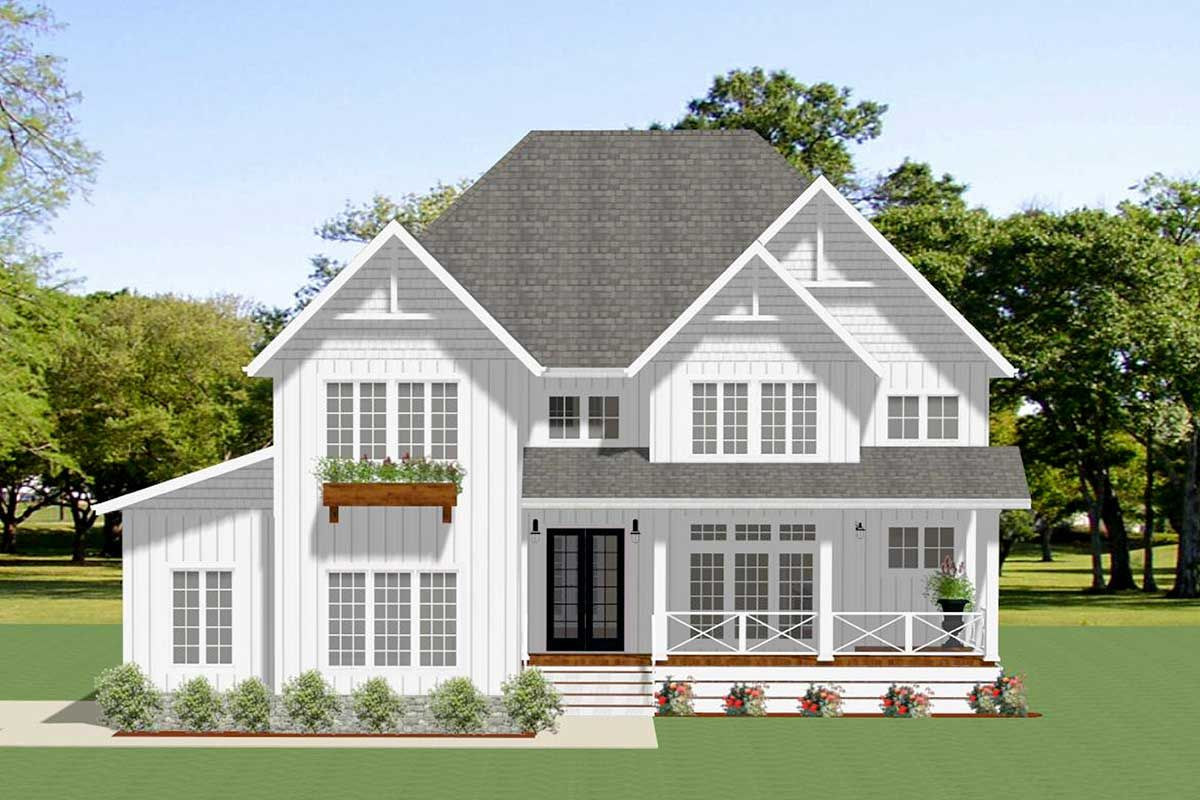 Plan 46361la Sophisticated 4 Bed Modern Farmhouse With 2 Story Great Room And 3 Car Garage Modern Farmhouse Plans House Plans Farmhouse Brick Exterior House