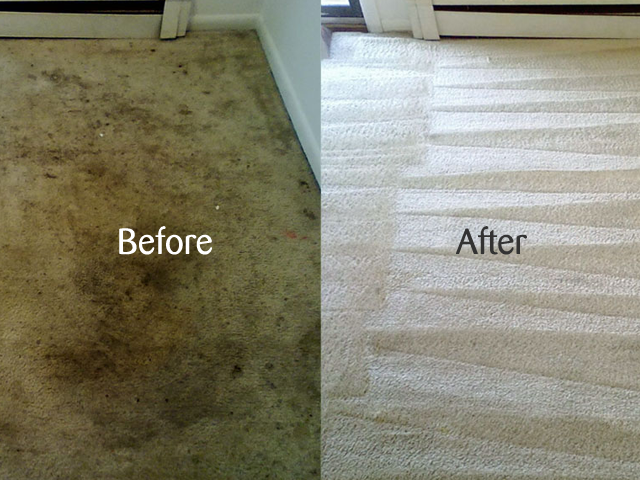 A before and after shot of the carpet cleaning results obtained by Heritage Cleaning in Swindon.