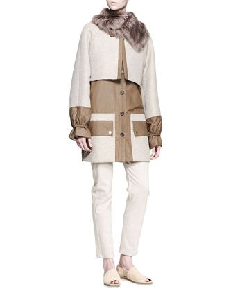 Fur-Collar Coat, V-Neck Trapeze Sweater & Boot-Cut Ankle Jeans by THE ROW at Neiman Marcus.