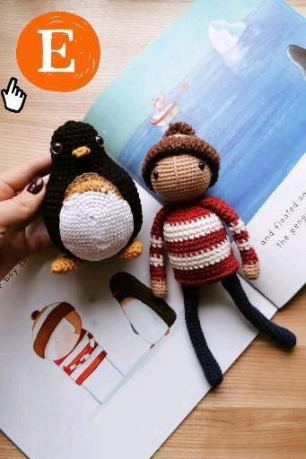 Crochet Mascots Boy And Penguin Lost And Found Oliver Jeffers Etsy Video Video Birthday Gifts For Kids Crochet Penguin Etsy