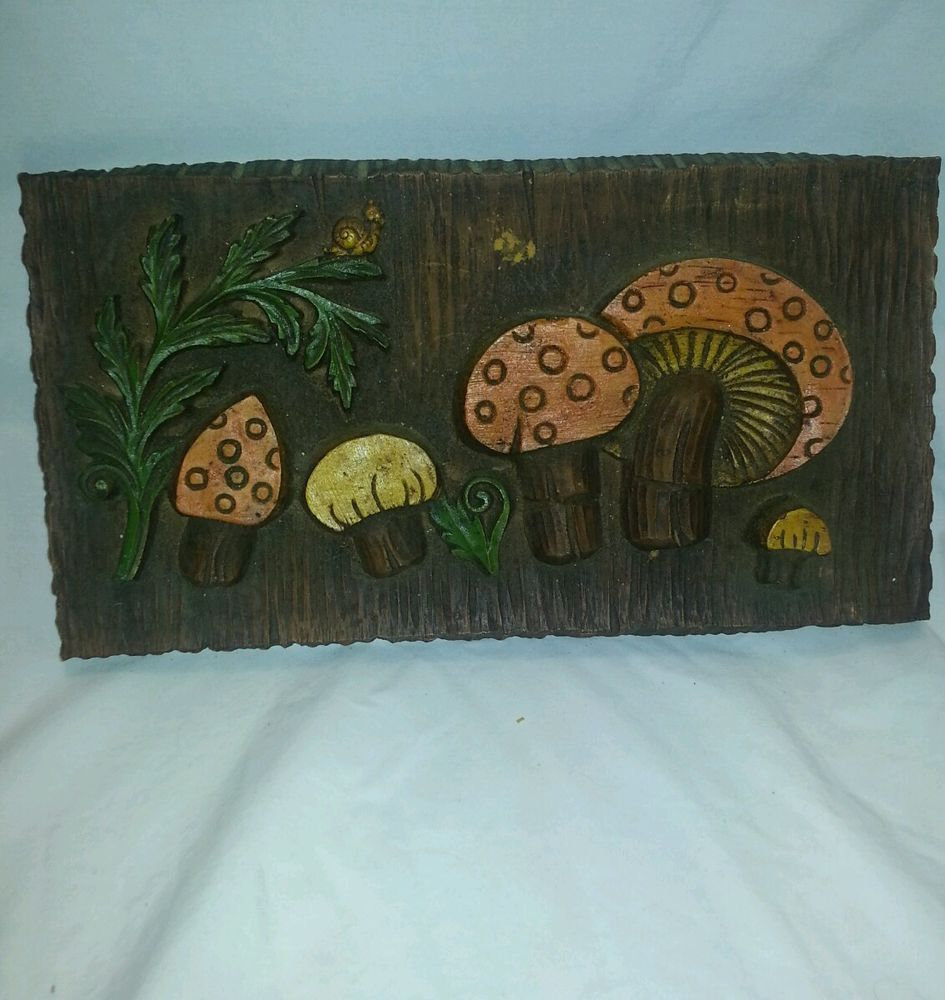 Vintage 70s mushroom wall plaque hand carved wood 3D
