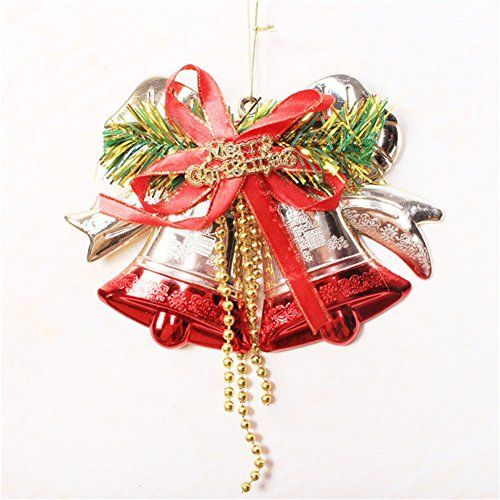 amazoncom large christmas bell pendant wreath pendant christmas decorations christmas tree ornaments red home kitchen