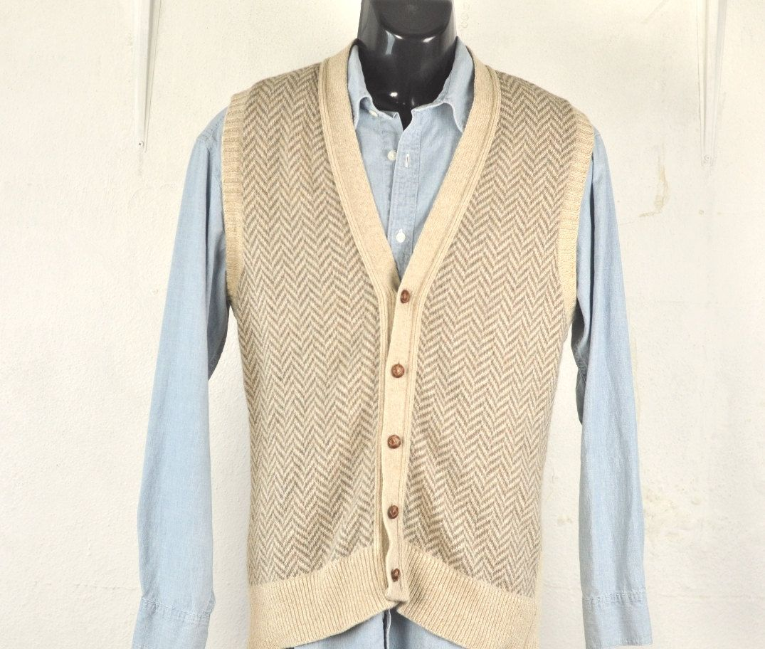 Mens Sweater Vest Medium Large Wool Blend 80's Wash & Dry Button ...