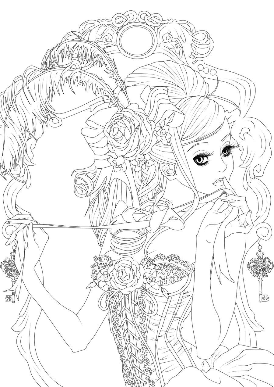 Free Vintage Girl Lineart Plz Credit By Hypervanity Deviantart Com On Deviantart Kleurplaten Kleuring Kleuren