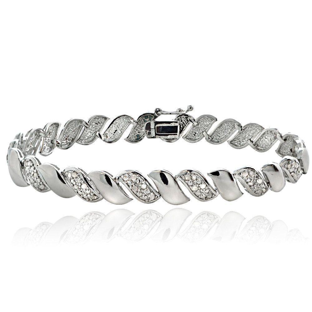 Db designs silver tone ct tdw diamond san marco bracelet