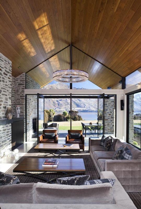 Mason wales architects wanaka house wanaka archipro stone wall