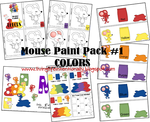 Mouse Paint Printables (4 free printable packs: colours, shapes, fine motor, counting) via 123homeschool4me.com