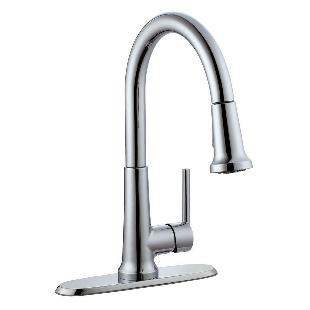 Design House Geneva Single Handle Pull Down Sprayer Kitchen Faucet In Polished Chrome Single Handle Kitchen Faucet Kitchen Faucet Faucet