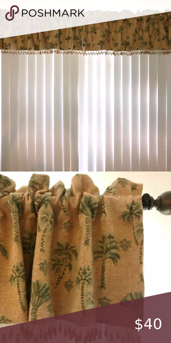 2 Valances Brentwood Originals Amber Palm Trees Valance Wood Beads Drapes Curtains