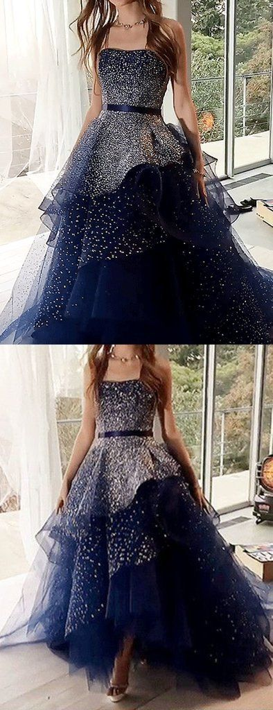 Navy Tulle Silver Beading Sequin Ball Gown Prom Dresses #promthings