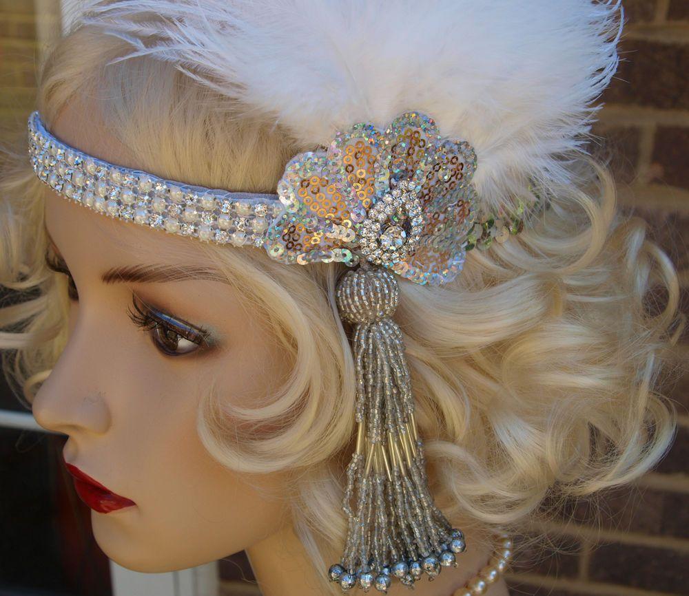 Handmade vintage 1920s design flapper white feather headband swarovski headpiece bijoux - Headband annee 20 ...