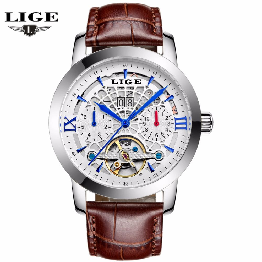 US $69.99 - LIGE Watches Men 2016 New Fashion Mechanical Business Tourbillon Watches For Male Waterproof Hollow Leather Wristwatches Relojes