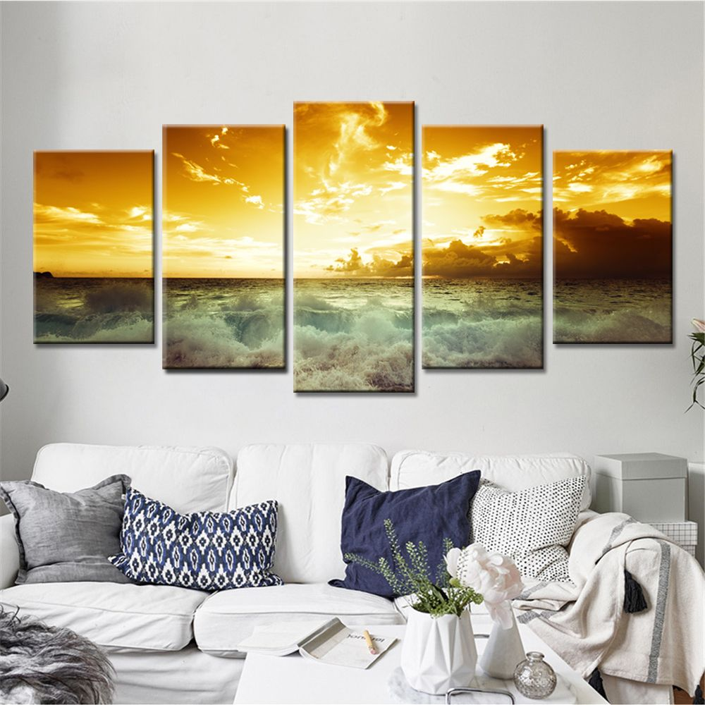 5 Pieces Sunset Landscape Canvas Wall Art Cuadros Decoration Oil ...