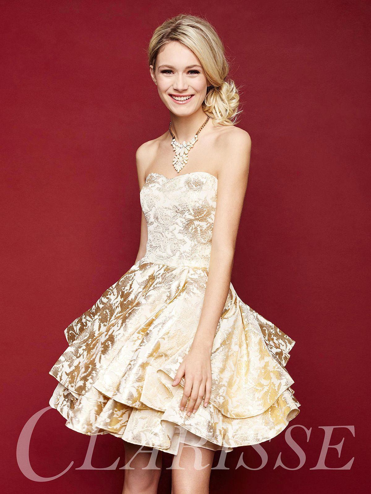 Strapless short formal brocade dress dresses pinterest