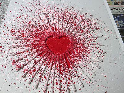 Herz Spritzen Painting Watercolor Pinterest Valentine Crafts