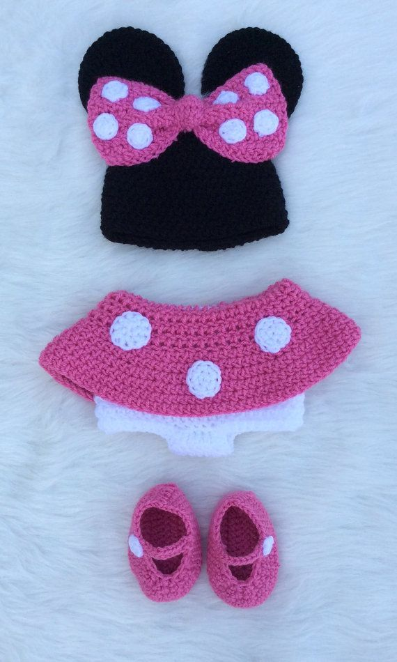 Minnie Mouse Inspired Hat Diaper Cover Booties Set Knit