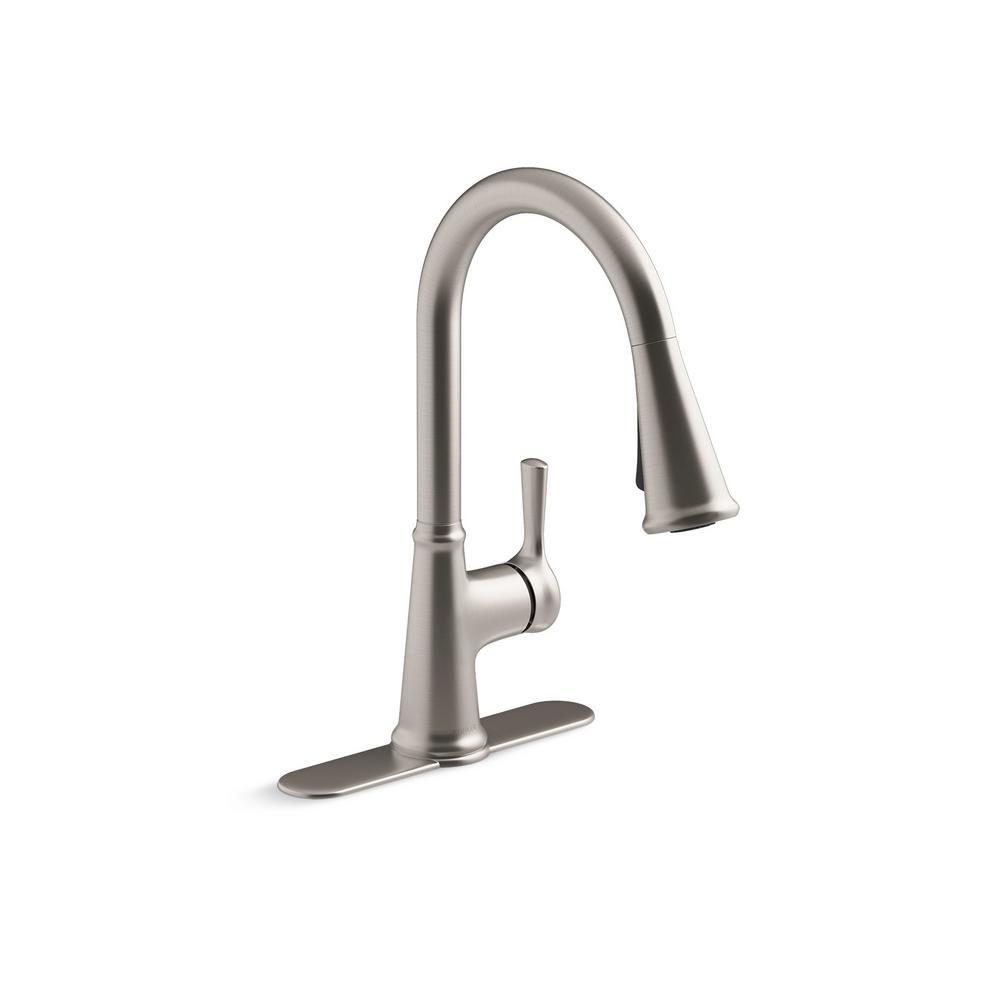 Kohler Tyne Single Handle Pull Down Sprayer Kitchen Faucet In