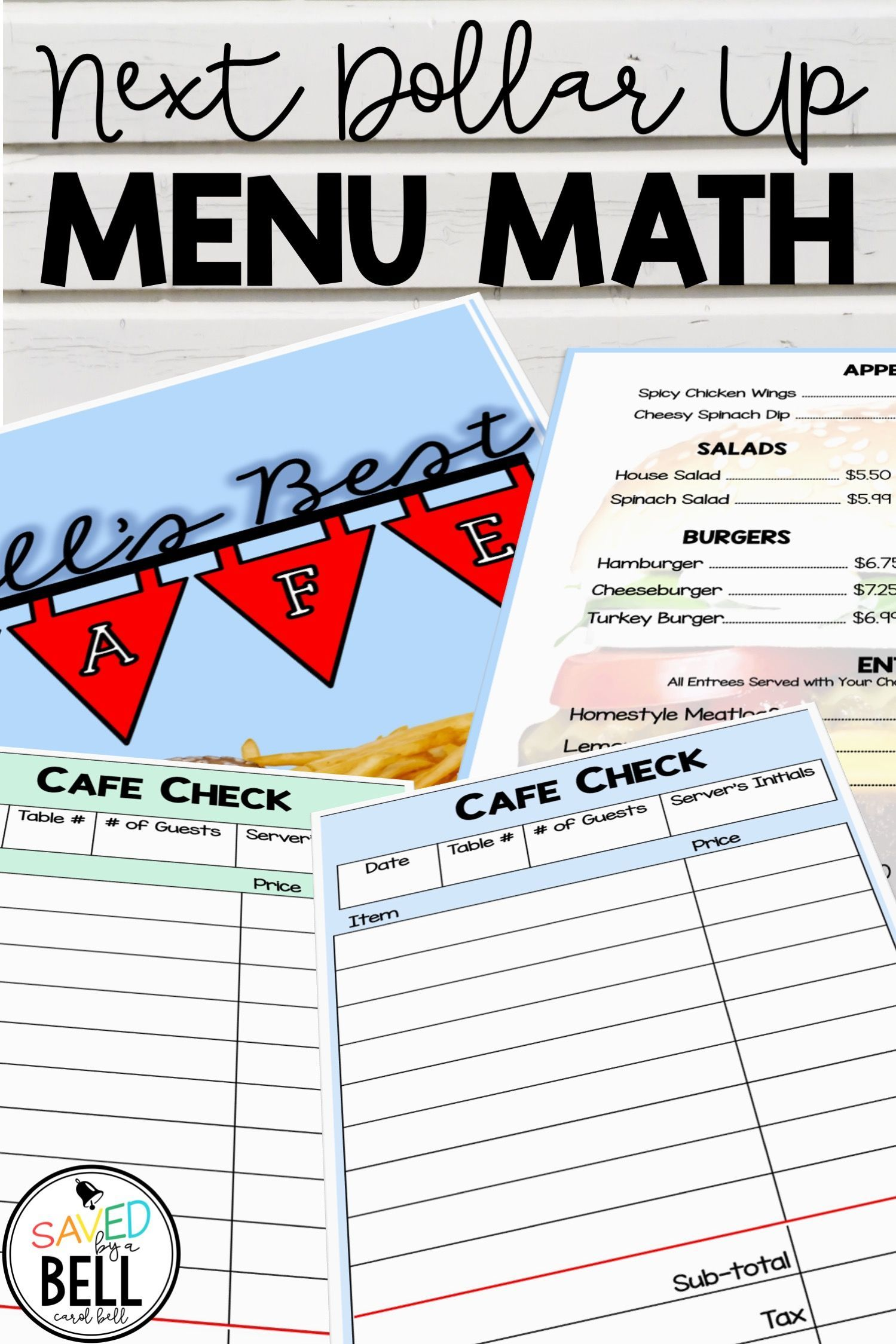 Next Dollar Up Worksheets And Word Problems Menu Math Cafe
