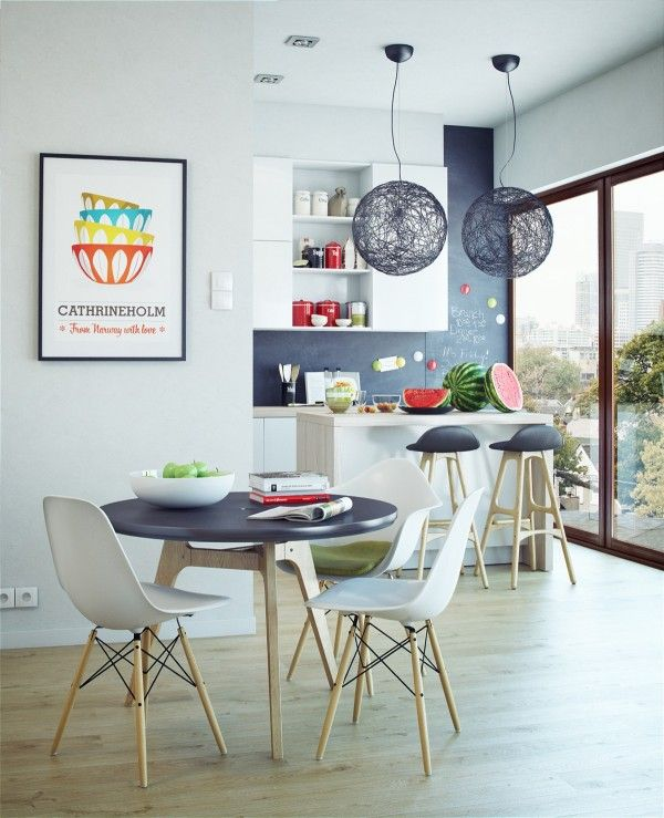 Amazing A Tiny Round Table Is Perfectly Enough With A Breakfast Bar For Spillover. Amazing Design