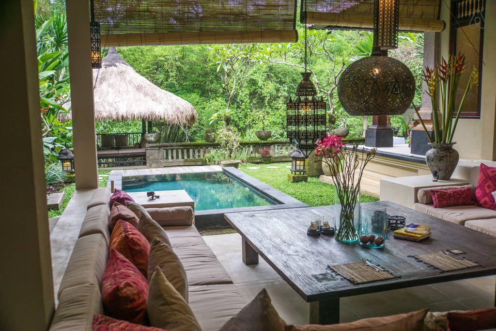 """Sunken """"Ushaped"""" lounge area overlooking pool and garden"""