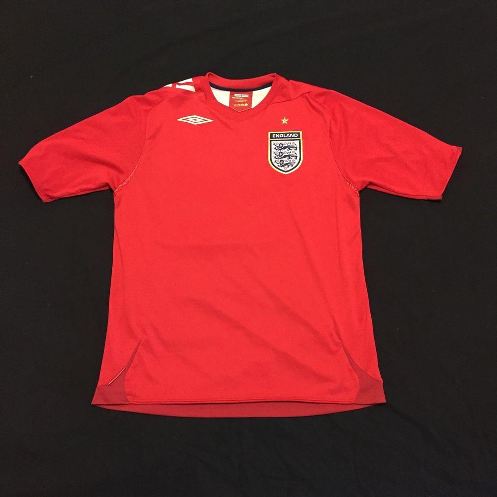 England World Cup Official Umbro Soccer Football Jersey 2006 2008 Red Away Large Football Jerseys Umbro Soccer