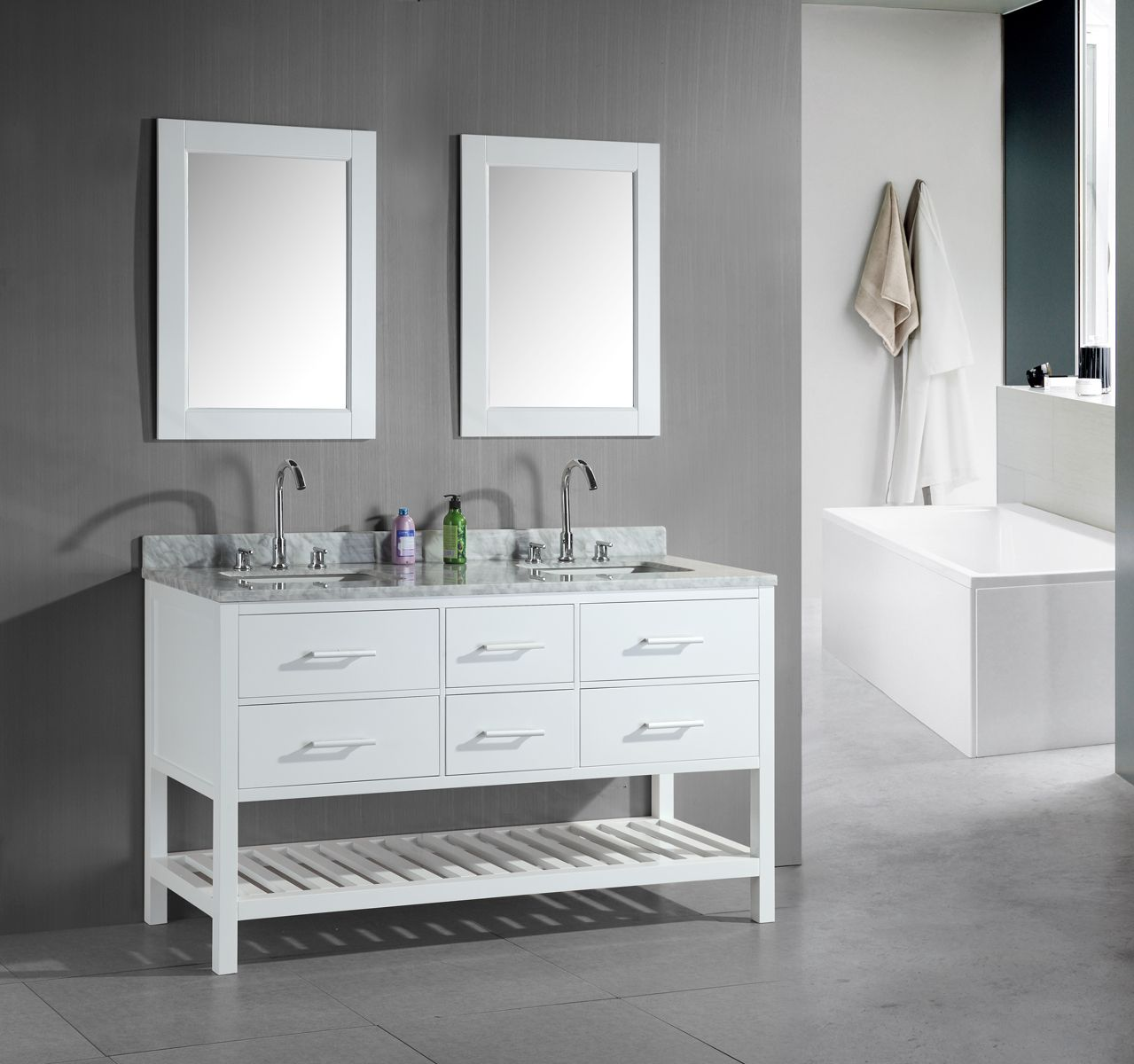 Charmant London Double Sink Bathroom White Vanity Set   Overstock™ Shopping   Great  Deals On Design Element Bathroom Vanities