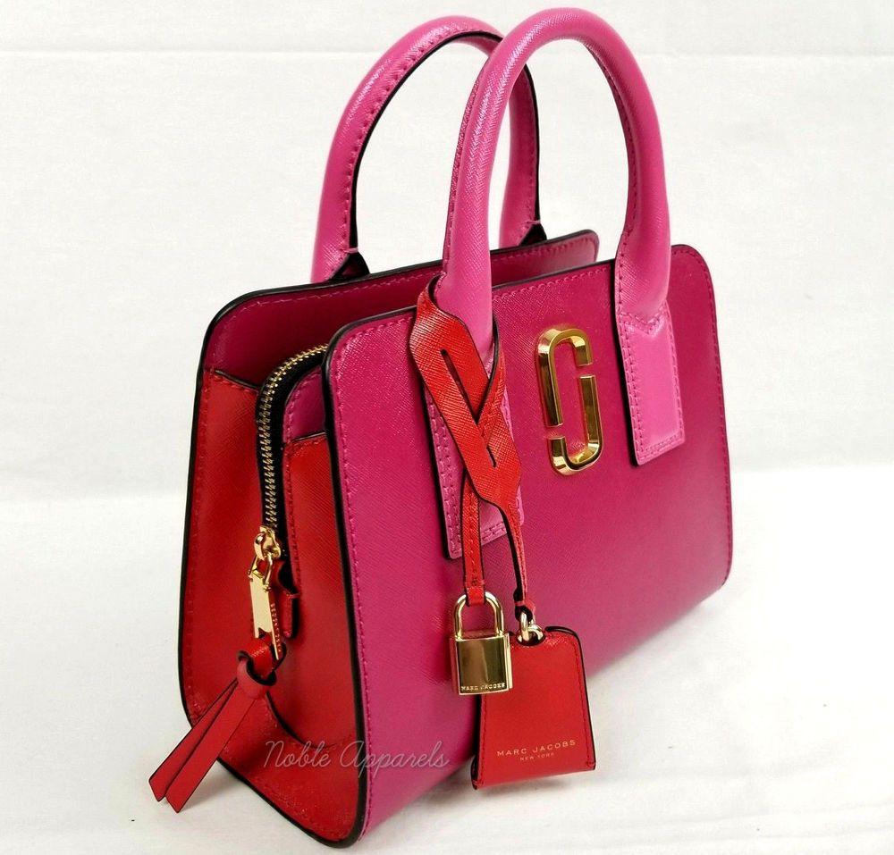 520386b65ff7 Marc Jacobs Little Big Shot Satchel Saffiano Leather Tote Bag Hibiscus  Multi 191267250342