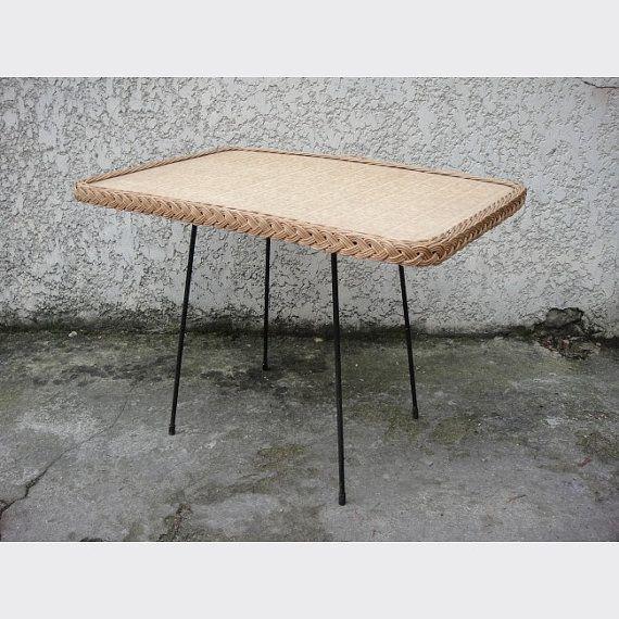 Large Rattan Coffee Table Braided Metal Foot Vintage 1960 Mid Century Rattan Coffee Table Rectangular Coffee Table Coffee Table