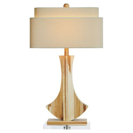 Table Lamp With A Contemporary Carved Base And Tiered Lampshade Product Table Lampconstruction Material Acacia W Table Lamp Lamp Table Lamp Wood