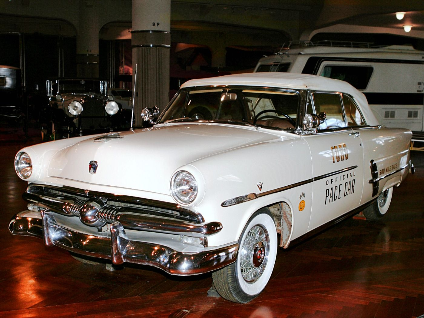 Cars 1953 ford sunliner convertible indy 500 pace car white fvl h ford museum cl