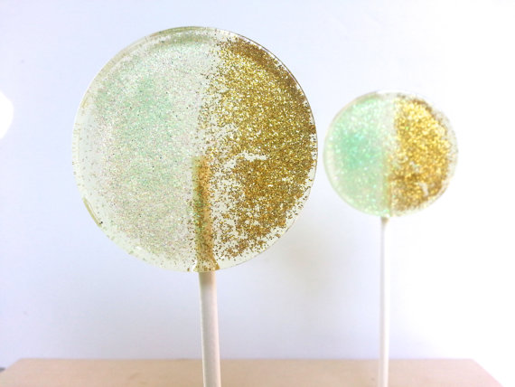 Mint and Gold Wedding Favors, Hard Candy Lollipops, Candy