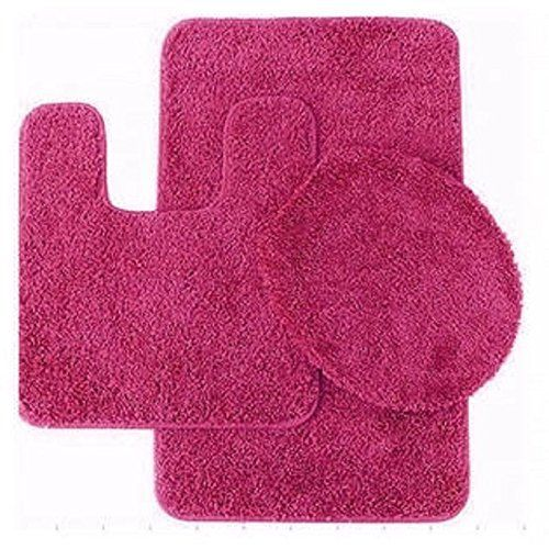 GorgeousHomeLinenDifferent Colors 3 Piece Bathroom Set Bath Mat, Contour,  And Lid Cover, With Rubber Backing #6 (Hot Pink)