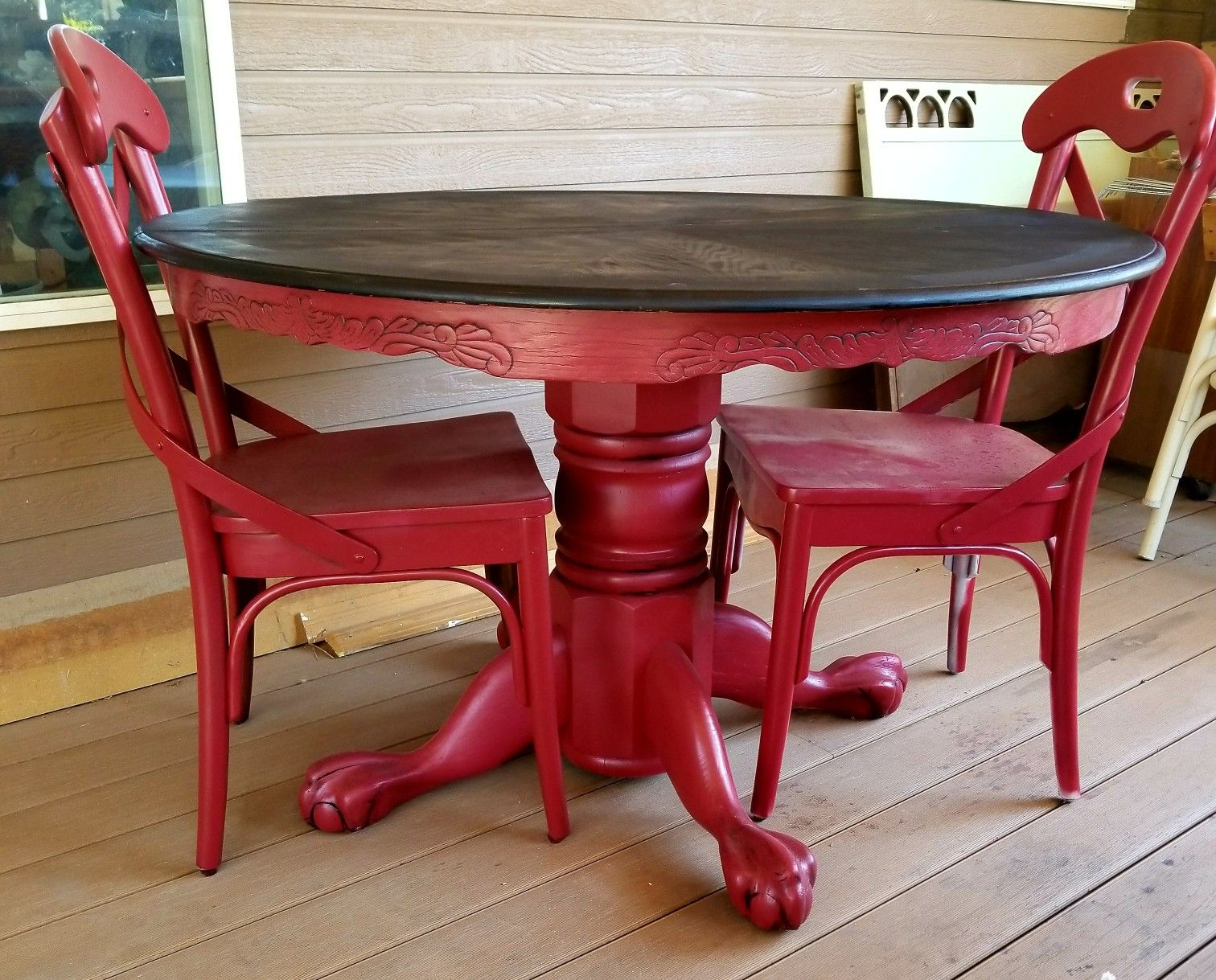 Red painted and glazed clawfoot round pedestal oak dining for Red dining room table and chairs