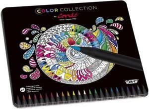 a bic conte caja metalica de 24 lapices colores