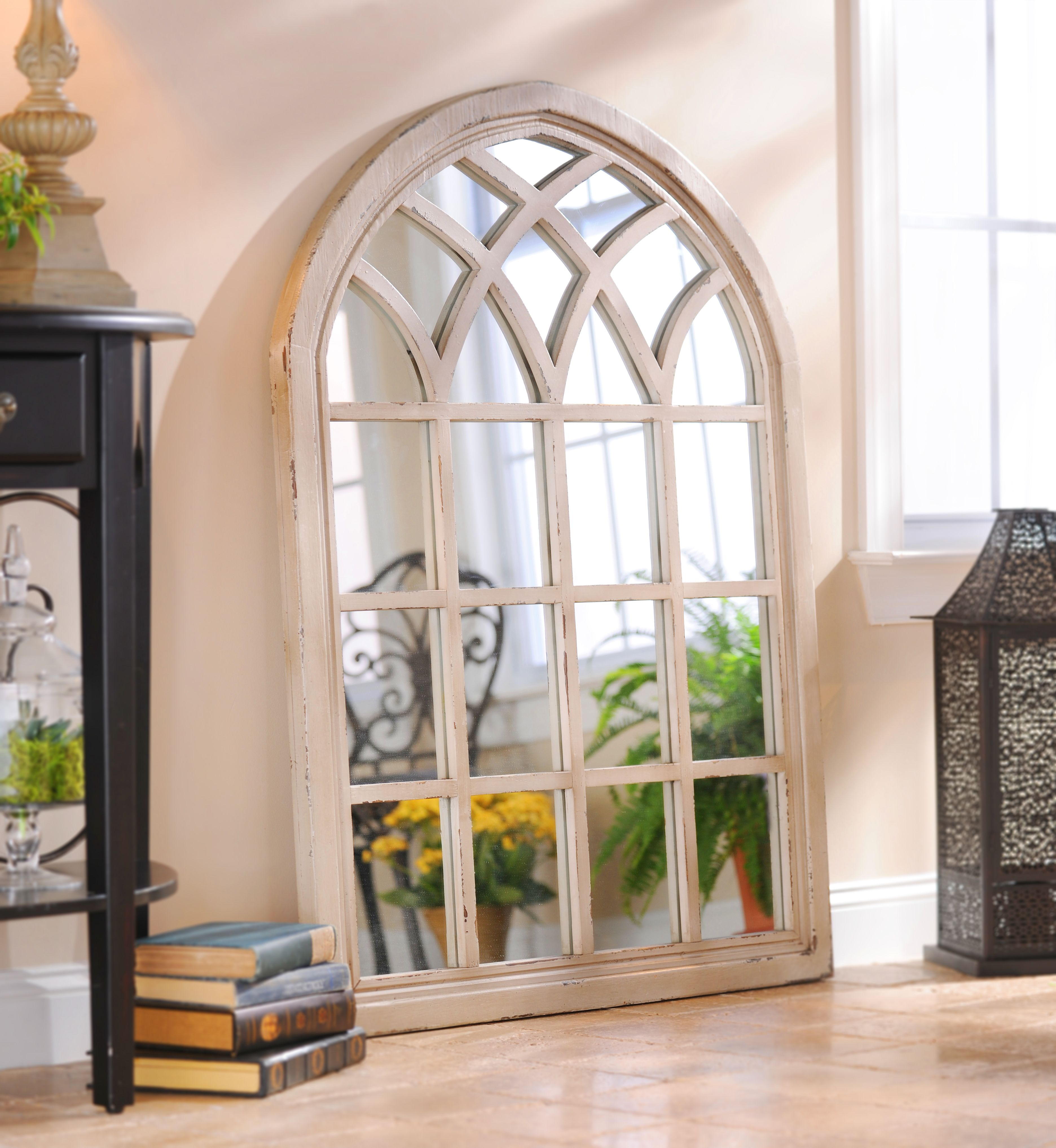 Distressed Farmhouse Living Room: Product Details Distressed Cream Sadie Arch Mirror In 2019