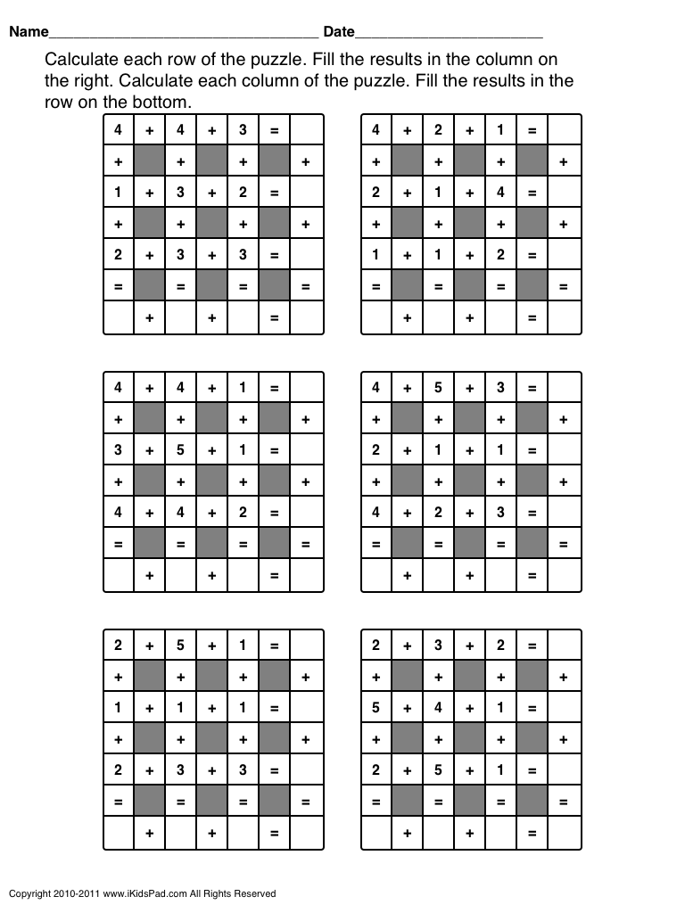 free printable math puzzles for kids | 1 | Pinterest | Math, Easy ...
