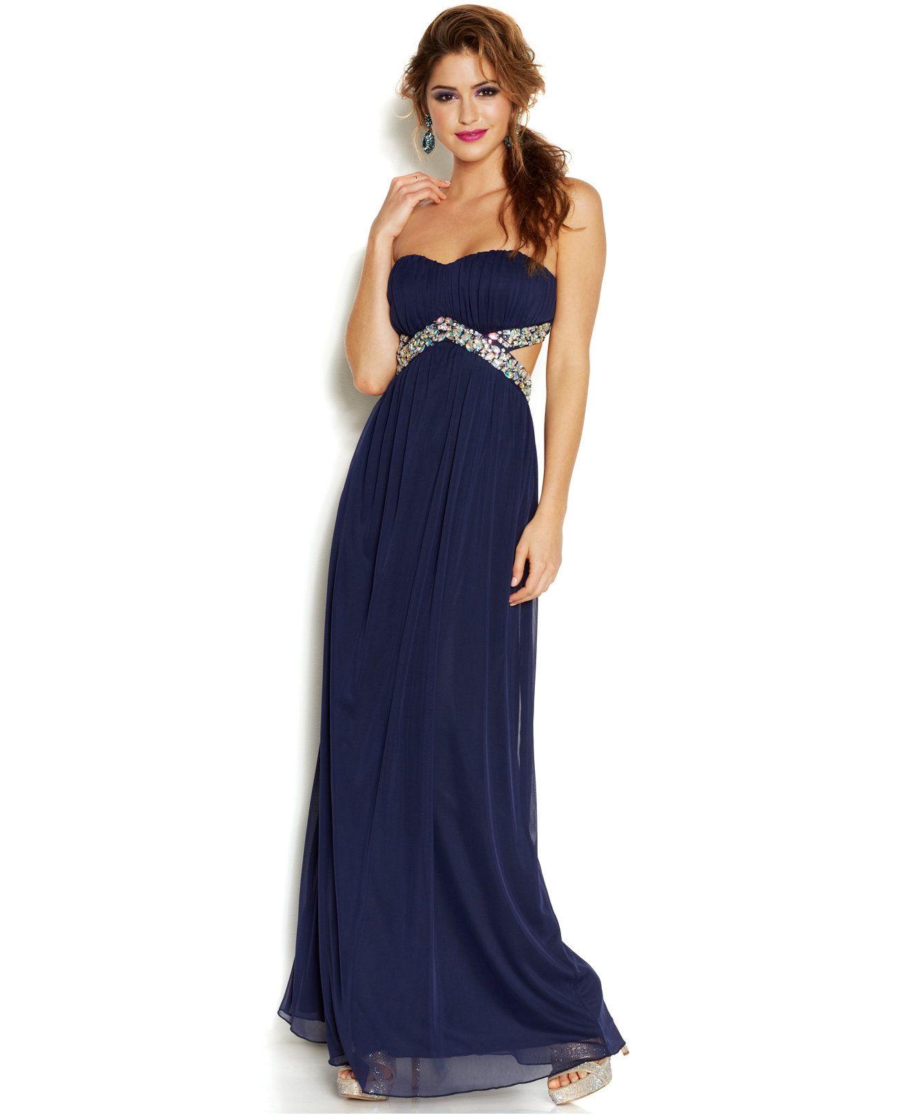 Trixxi juniorsu strapless cutout sequined gown juniors shop all