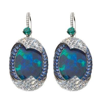 Leviev-black-opal-emerald-sapphire-diamond-earrings