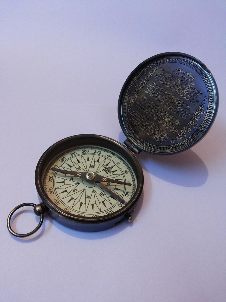 Antique Nautical Brass Pocket Poem Compass 3 Inches Vintage Marine Decor Marine Decor Compass Drawing Pocket Compass