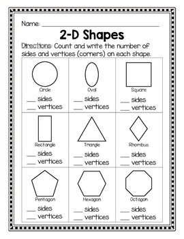 2d Shapes Sides And Vertices Kindergarten Math